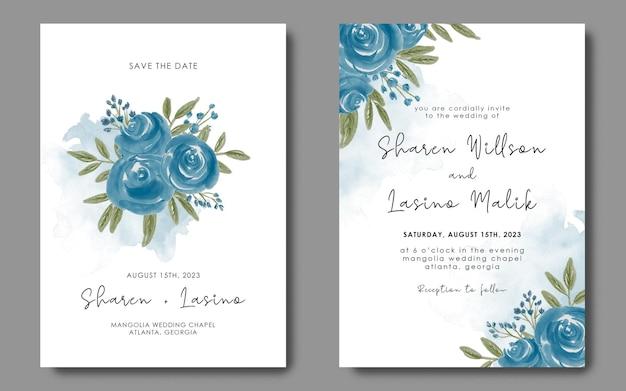 Hochzeitseinladungskartenschablone mit blauem blumenstrauß des aquarells