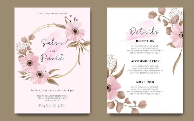 Hochzeitseinladungskartenschablone mit blumendekoration und aquarellpinseleffekt