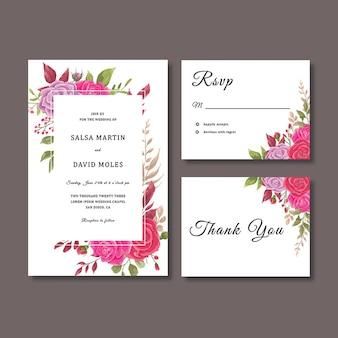 Hochzeitseinladungskartenschablone mit blumendekorationsschablone