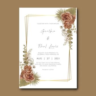 Hochzeitseinladungskartenschablone mit blumenstrauß und trockenen blättern des aquarells