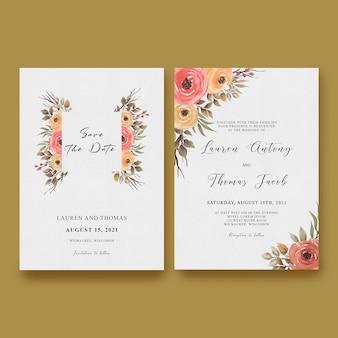 Hochzeitseinladungskartenschablone mit einem rahmen von rosen und aquarellblättern