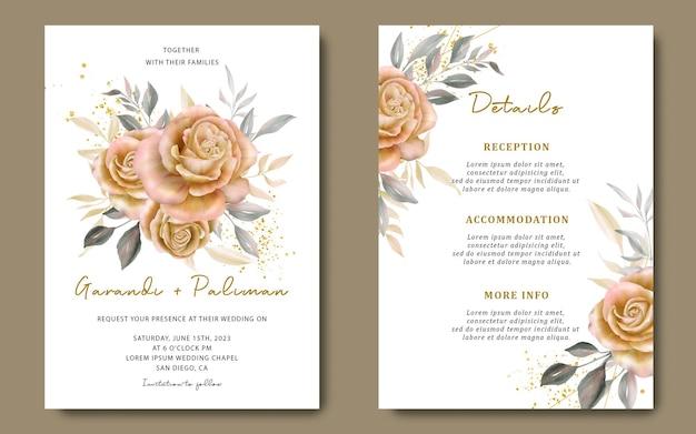 Hochzeitseinladungskartenschablone mit gelben rosen des aquarells