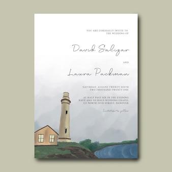Hochzeitseinladungskartenschablone mit leuchtturm-landschaftsdekorationshand gezeichnet