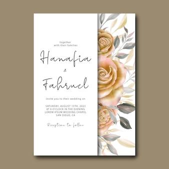 Hochzeitseinladungskartenschablone mit schönen aquarellrosen