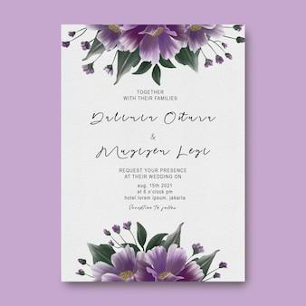 Hochzeitseinladungskartenschablone mit schönen lila blumendekorationen des aquarells
