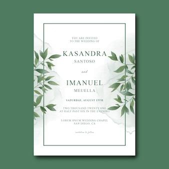 Hochzeitseinladungsschablone mit aquarellblättern