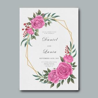 Hochzeitseinladungsschablone mit aquarellblumendekorationen