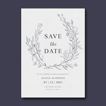 Hochzeitseinladungsschablone mit blattskizze