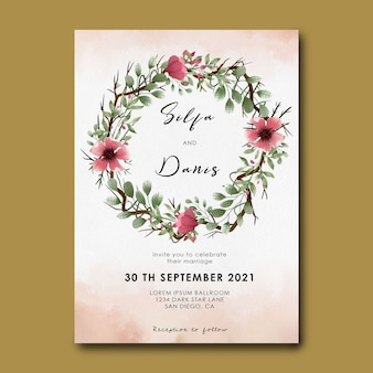 Hochzeitseinladungsschablone mit blumenstraußdekoration