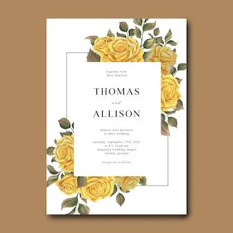 Hochzeitseinladungsschablone mit einem blumenstrauß der gelben aquarellrosen