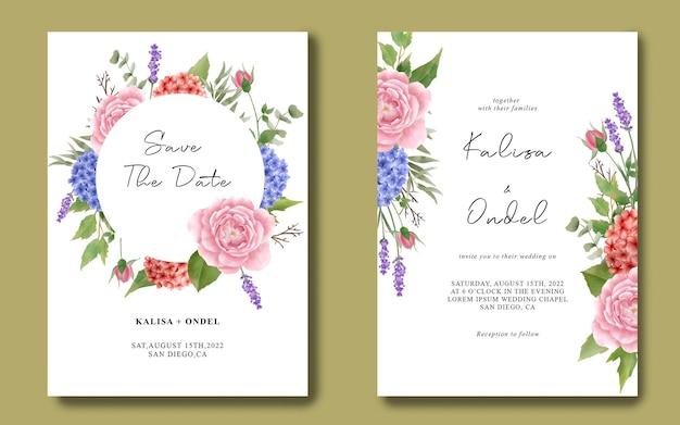 Hochzeitseinladungsschablone mit einem blumenstrauß von hortensien