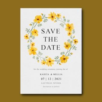 Hochzeitseinladungsschablone mit gelbem blumenstrauß des aquarells