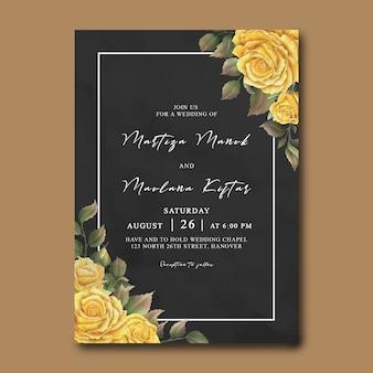 Hochzeitseinladungsschablone mit gelben aquarellrosen