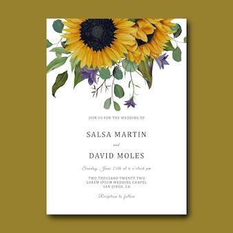 Hochzeitseinladungsschablone mit hand gezeichnetem sonnenblumenrahmen und eukalyptusblättern