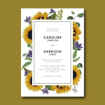 Hochzeitseinladungsschablone mit hand gezeichneten sonnenblumen- und eukalyptusblättern