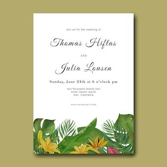 Hochzeitseinladungsschablone mit hand gezeichneten tropischen blattrahmen