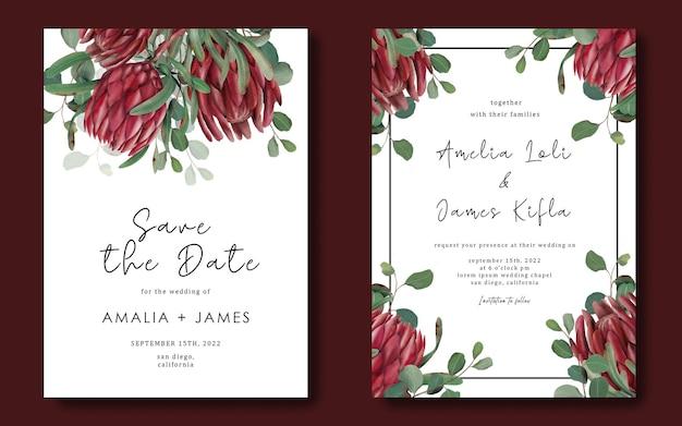 Hochzeitseinladungsschablone mit handgezeichnetem protea-blumenrahmen