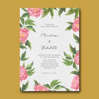 Hochzeitseinladungsschablone mit pfingstrosenblumenrahmen und aquarellblättern