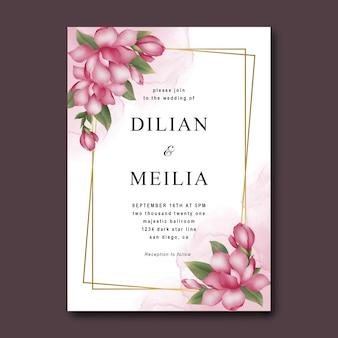 Hochzeitseinladungsschablone mit rosa blumen des aquarells