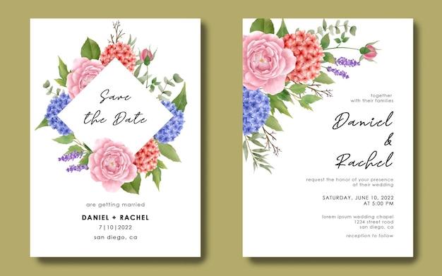 Hochzeitseinladungsschablone mit roten und blauen hortensien