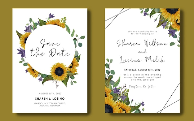 Hochzeitseinladungsschablone mit sonnenblumen- und eukalyptusblättern