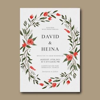 Hochzeitseinladungsschablonen mit aquarellblumenrahmen