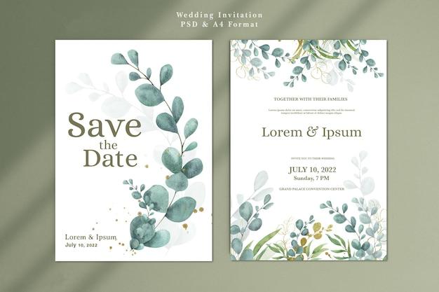 Hochzeitseinladungsvorlage mit eukalyptus