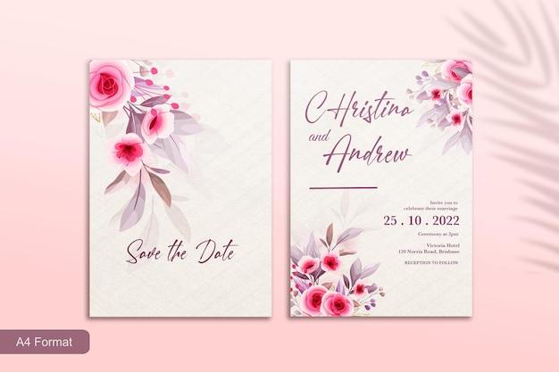 Hochzeitseinladungsvorlage mit rosa blume Premium PSD