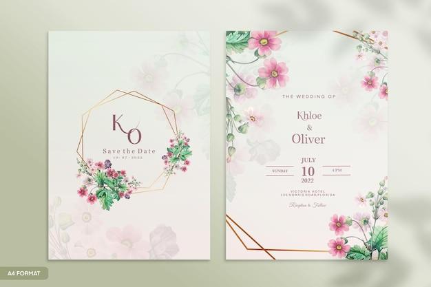 Hochzeitseinladungsvorlage mit rosa blume