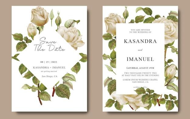 Hochzeitskartenschablone mit weißer rosenblume