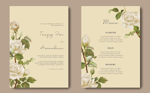 Hochzeitskartenvorlage und menükarte mit weißer rosenblüte