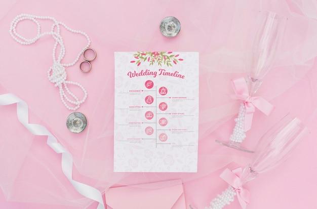 Hochzeitszeitachse infographic mit gläsern champagner