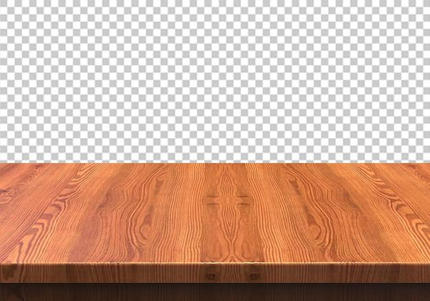Hölzerne tischplatte lokalisiert auf transparentem hintergrund