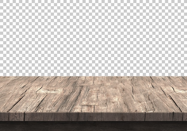 Hölzerne tischplatte lokalisiert auf transparentem
