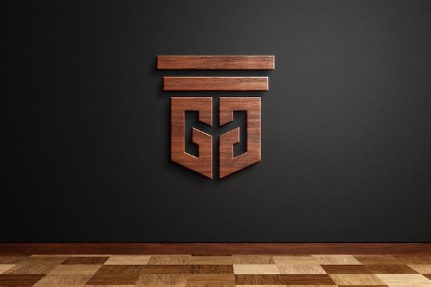 Hölzernes logo-modell auf 3d-rendering der schwarzen wand