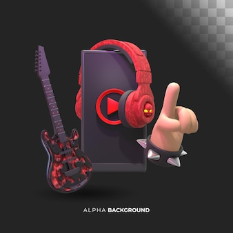Höre rockmusik. 3d-darstellung