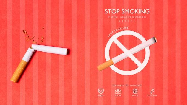 Hören sie mit dem mock-up-konzept auf zu rauchen