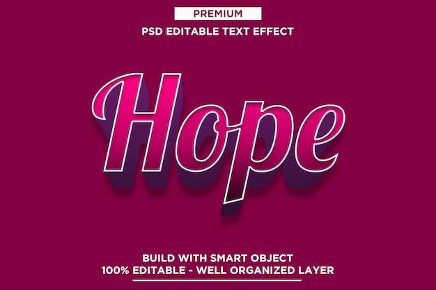 Hoffnung - retro- moderne effekt-schablonen des text-3d