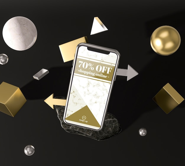 Hohe ansicht des 3d-modell-smartphones