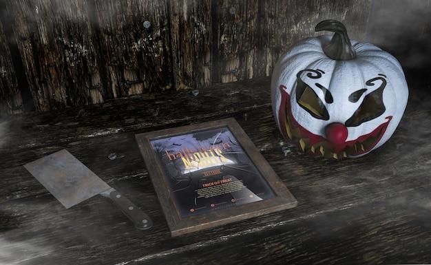 Hohe ansicht schoss vom furchtsamen clownkürbis- und -halloween-nachtrahmen