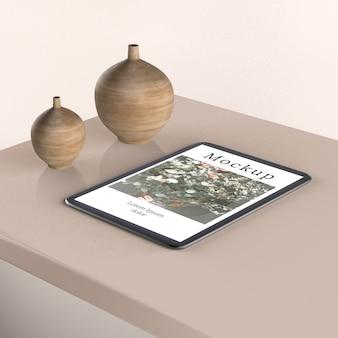 Hoher winkel der vasen modell