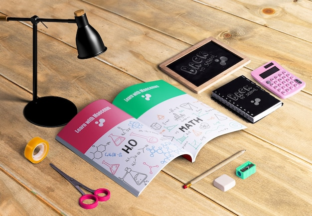 Hoher winkel des erstellerpakets für desktopszenen
