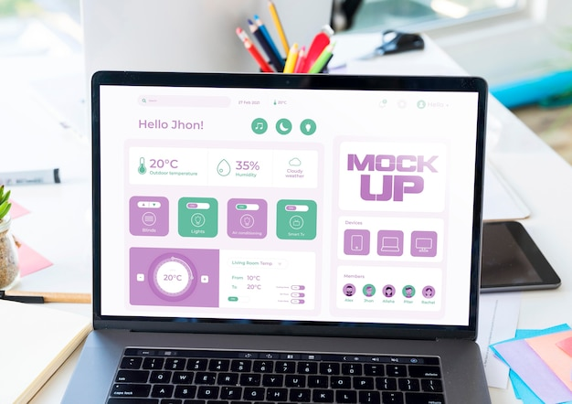Hoher winkel des geschäfts-laptop-modells