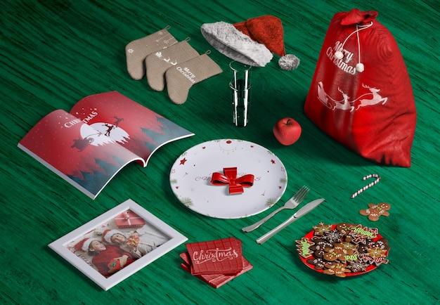 Hoher winkel des weihnachtsszenen-schöpfermodells