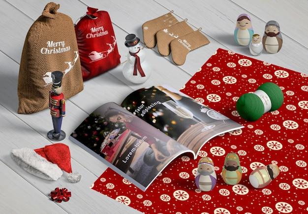 Hoher winkel des weihnachtsszenenschöpfers