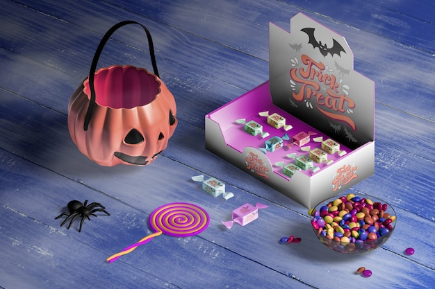 Hoher winkel von halloween-konzept auf holztisch