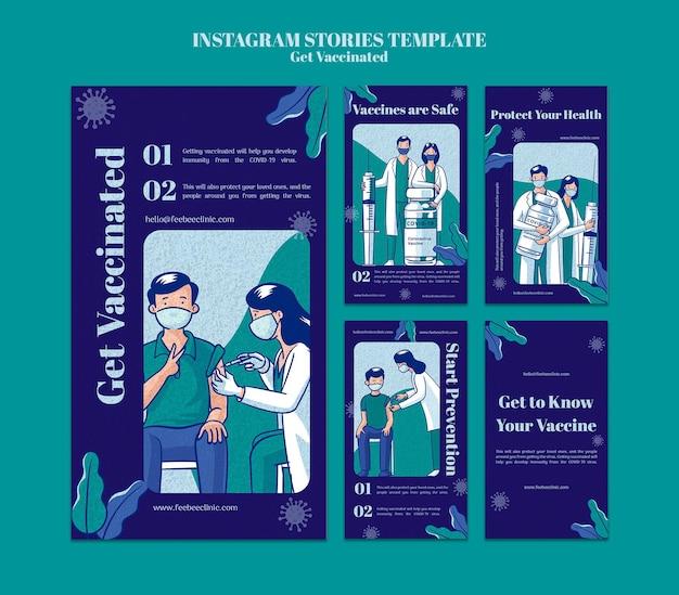 Holen sie sich geimpfte instagram-storys-set