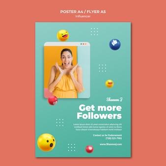 Holen sie sich mehr follower-plakatvorlage