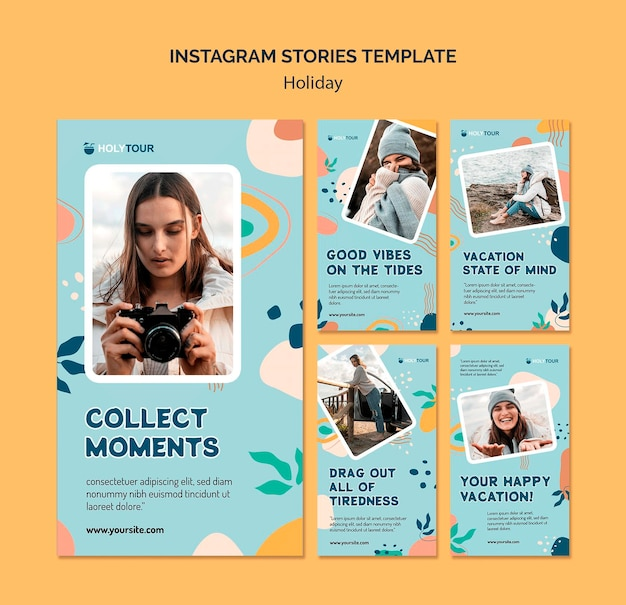 Holidays instagram story template sammlung