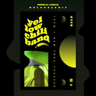 Holographische musikbandplakatschablone